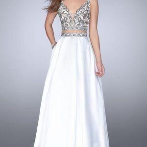 White Two-Piece Gigi LaFemme Prom Dress